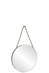UTC43857 Metal Round Wall Mirror with Top Rope Hanger SM Coated Finish Black