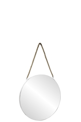 UTC43858 Metal Round Wall Mirror with Top Rope Hanger SM Coated Finish White