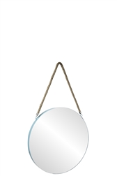 UTC43859 Metal Round Wall Mirror with Top Rope Hanger SM Coated Finish Blue