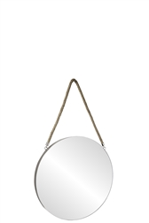 UTC43860 Metal Round Wall Mirror with Top Rope Hanger SM Coated Finish Gray