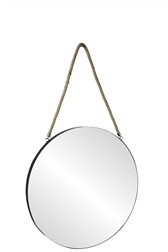 UTC43861 Metal Round Wall Mirror with Top Rope Hanger LG Coated Finish Black