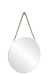 UTC43862 Metal Round Wall Mirror with Top Rope Hanger LG Coated Finish White