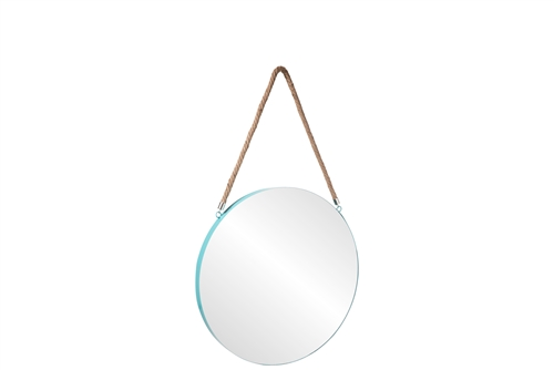 UTC43863 Metal Round Wall Mirror with Top Rope Hanger LG Coated Finish Blue