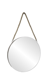 UTC43864 Metal Round Wall Mirror with Top Rope Hanger LG Coated Finish Gray
