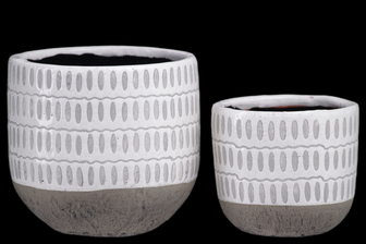 UTC44002 Terra Cotta Round Pot with Grey Oval Pattern Design Body and Banded Tapered Bottom Set of Two Gloss Finish White