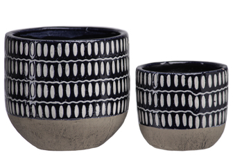 UTC44003 Terra Cotta Round Pot with Grey Oval Pattern Design Body and Banded Tapered Bottom Set of Two Gloss Finish Navy Blue