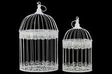 UTC44102 Metal Round Nesting Bird Cage with Dome Top and Hook Hanger Set of Two Coated Finish White