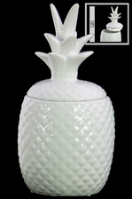 UTC44206 Ceramic 40 oz. Pineapple Canister LG Gloss Finish White