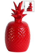 UTC44207 Ceramic 40 oz. Pineapple Canister LG Gloss Finish Red