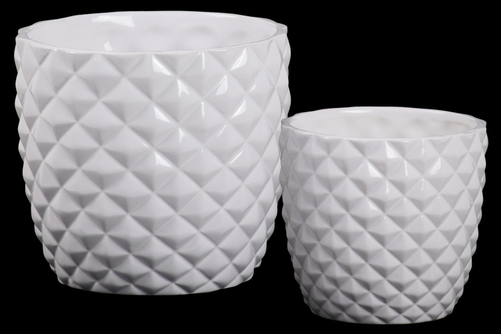 UTC44229 Ceramic Round Pot with Embossed Diamond Pattern and Tapered Bottom Set of Two Gloss Finish White