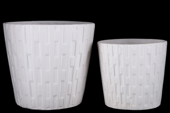 UTC44231 Ceramic Round Pot with Alternate Broken Vertical Lines Pattern Design Body and Tapered Bottom Set of Two Matte Finish White