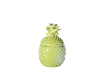 UTC44234 Ceramic Pineapple Canister with Top Removable Lid SM Gloss Finish Jade Green