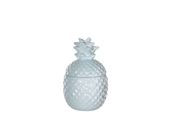 UTC44235 Ceramic Pineapple Canister with Top Removable Lid SM Gloss Finish Sky Blue