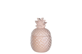UTC44236 Ceramic Pineapple Canister with Top Removable Lid SM Gloss Finish Light Pink