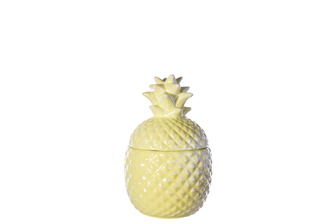 UTC44237 Ceramic Pineapple Canister with Top Removable Lid SM Gloss Finish Mustard Yellow
