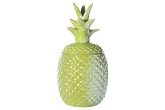 UTC44238 Ceramic Pineapple Canister with Top Removable Lid LG Gloss Finish Jade Green