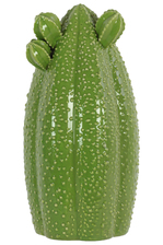 UTC44414 Ceramic Tall Bishop's Cap Cactus Figurine LG Gloss Finish Green