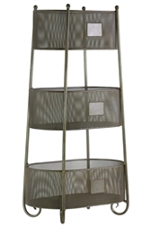 UTC44500 Iron Oval Shelf with 3 Wire Mesh Sides Bins and 3 Slots Coated Finish Champagne