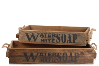 "UTC44707 Wood Rectangular Tray with Rope Side Handles and ""Water Trademark White Soap"" Label Set of Two Natural Finish Brown"