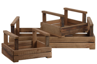 UTC44708 Wood Rectangular Tray with Long Side Handles Set of Three Natural Finish Brown