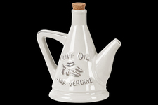 UTC45000 Ceramic 24 oz. Olive Oil Pourer with Embossed Olives,Label, Cork Lid, and Handle Distressed Gloss Finish White