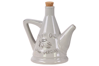 UTC45001 Ceramic 24 oz. Olive Oil Pourer with Embossed Olives,Label, Cork Lid, and Handle Gloss Finish Gray