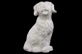 UTC45004 Ceramic Sitting Retriever Dog Figurine Matte Finish White