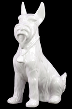 UTC45005 Ceramic Sitting Scottish Terrier Dog Figurine with Pricked Ears Gloss Finish White