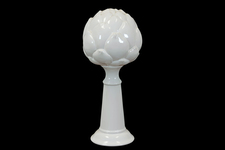 UTC45009 Ceramic Artichoke Figurine On Pedestal LG Gloss Finish White