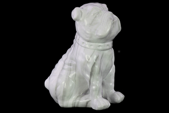UTC45014 Ceramic Sitting British Bulldog Figurine with Collar and Gray Streaks Mableized Finish White