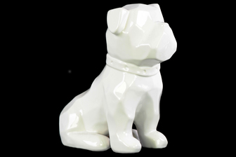 UTC45023 Ceramic Geometric Sitting British Bulldog Figurine with Collar Gloss Finish White
