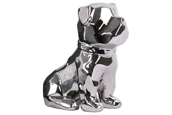 UTC45024 Ceramic Geometric Sitting British Bulldog Figurine with Collar Polished Chrome Finish Silver