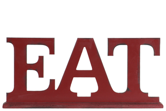"UTC45305 Wood Alphabet Tabletop Decor Letter ""EAT"" on Rectangular Stand Coated Finish Red"