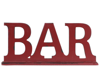 "UTC45306 Wood Alphabet Tabletop Decor Letter ""BAR"" on Rectangular Stand Coated Finish Red"