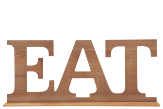 "UTC45309 Wood Alphabet Tabletop Decor Letter ""EAT"" on Rectangular Stand Natural Wood Finish Brown"