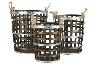 UTC45502 Wood Round Basket with Side Rope Handles, Metal Banded Top, Middle and Bottom and Lattice Design Body Set of Three Natural Finish Dark Brown