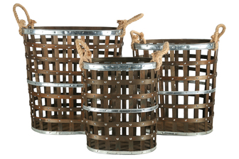 UTC45503 Wood Oval Basket with Side Rope Handles, Metal Banded Top, Middle and Bottom and Lattice Design Body Set of Three Natural Finish Dark Brown
