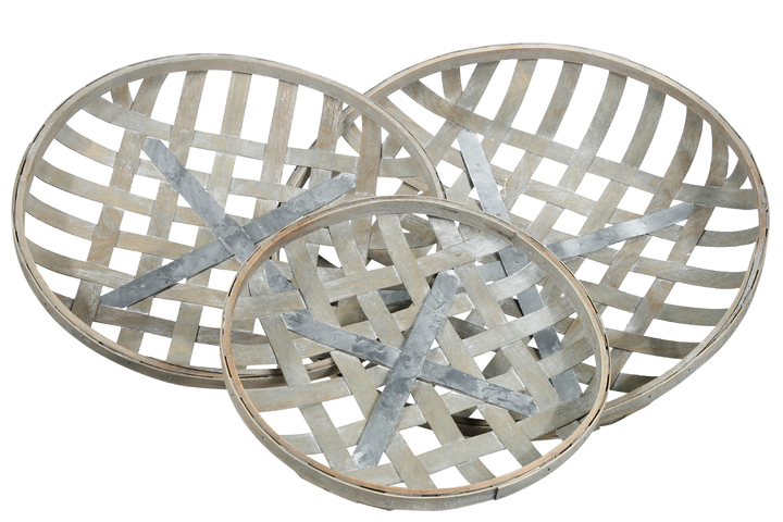 UTC45505 Wood Round Tobacco Basket with Metal Bottom Support and Lattice Design Body Set of Three Weathered Finish Gray