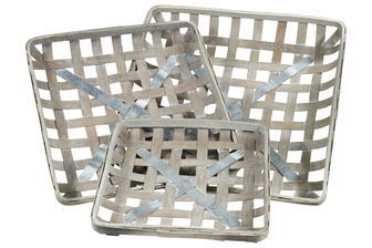 UTC45506 Wood Square Tobacco Basket with Metal Bottom Support and Lattice Design Body Set of Three Weathered Finish Gray