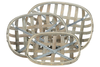 UTC45507 Wood Oval Tobacco Basket with Metal Bottom Support and Lattice Design Body Set of Three Weathered Finish Gray