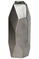 UTC45920 Ceramic Tall Irregular Vase with Patterned Design Body Matte Finish Silver