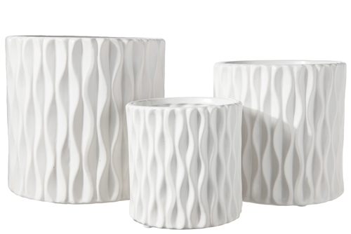 UTC45945 Ceramic Cylindrical Pot wth Wide Mouth and Embossed Wave Design Body Set of Three Matte Finish White