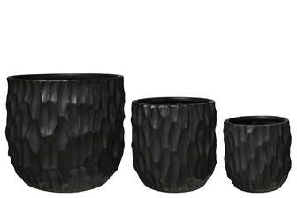 UTC45947 Ceramic Cylindrical Pot with Wide Mouth and Embossed Rectangle Design Body Set of Three Matte Finish Black