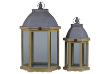 UTC46026 Wood Hexagonal Lantern with Cast Iron Top, Metal Ring Handle, and Glass Sides Set of Two Painted Finish Buttery Yellow