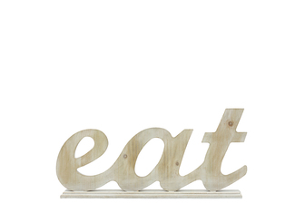 "UTC46030 Wood Alphabet Decor ""EAT"" on Base Washed l Finish Tan"
