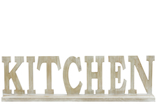 "UTC46032 Wood Alphabet Decor ""KITCHEN"" on Base Washed Finish Tan"