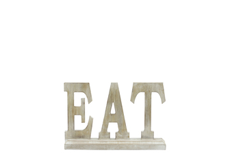 "UTC46034 Wood Alphabet Decor ""EAT"" on Base Washed Finish Tan"
