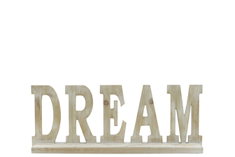 "UTC46038 Wood Alphabet Decor ""DREAM"" on Base Washed Finish Tan"