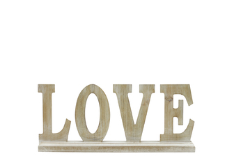 "UTC46040 Wood Alphabet Decor ""LOVE"" on Base Washed Finish Tan"