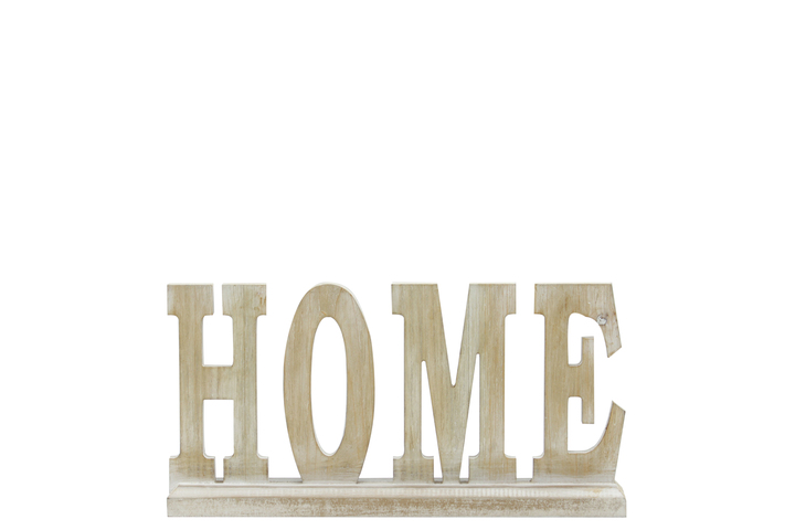 "UTC46042 Wood Alphabet Decor ""HOME"" on Base Washed Finish Tan"